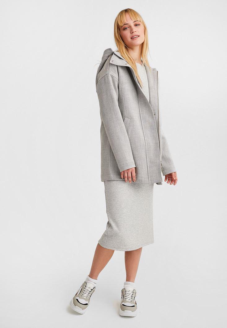 Gri Fermuar Detaylı Kapüşonlu Ceket