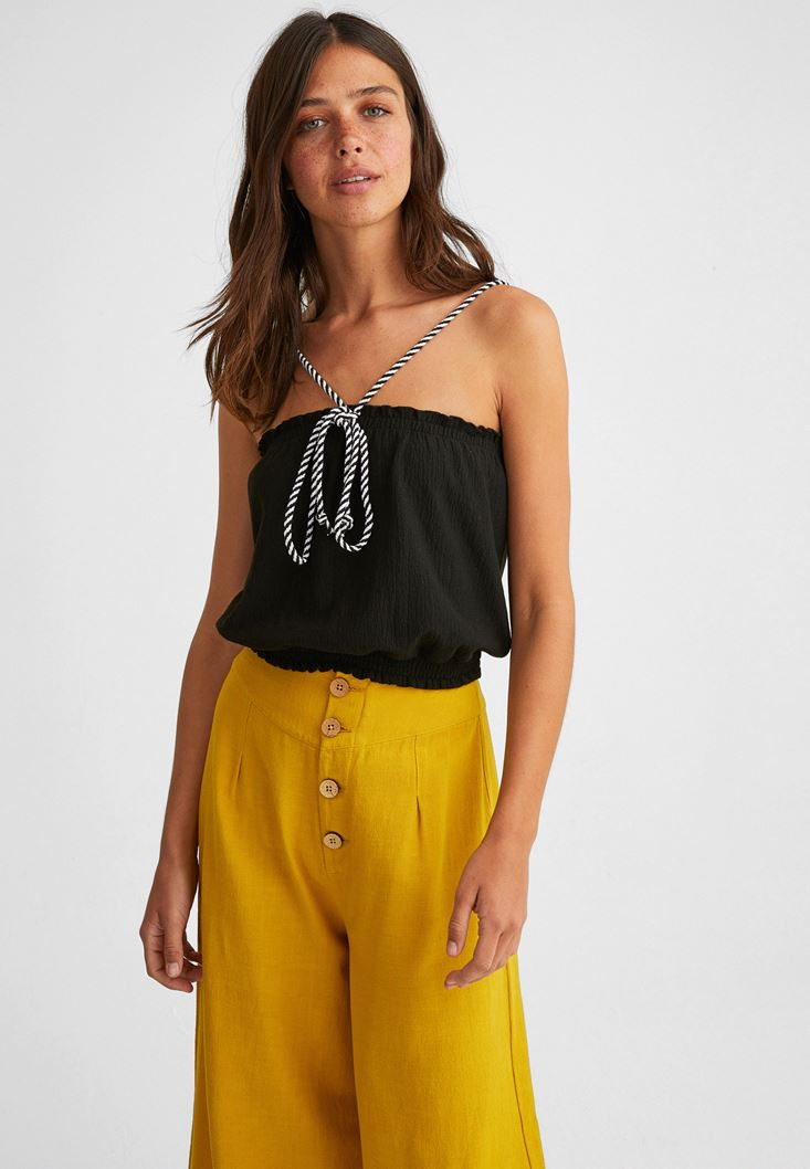 Black Top with Drawstrings