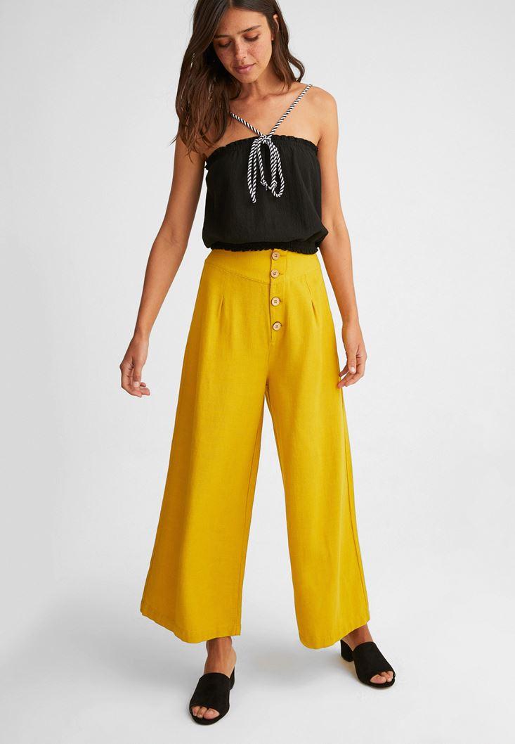Halat Askılı Bluz ve Bol Pantolon Kombini