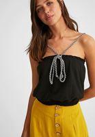 Bayan Siyah Halat Askılı Crop Bluz