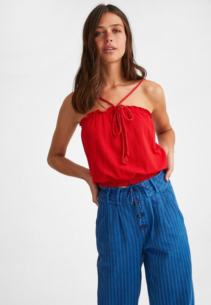 Kırmızı Halat Askılı Crop Bluz