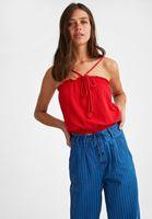 Bayan Kırmızı Halat Askılı Crop Bluz