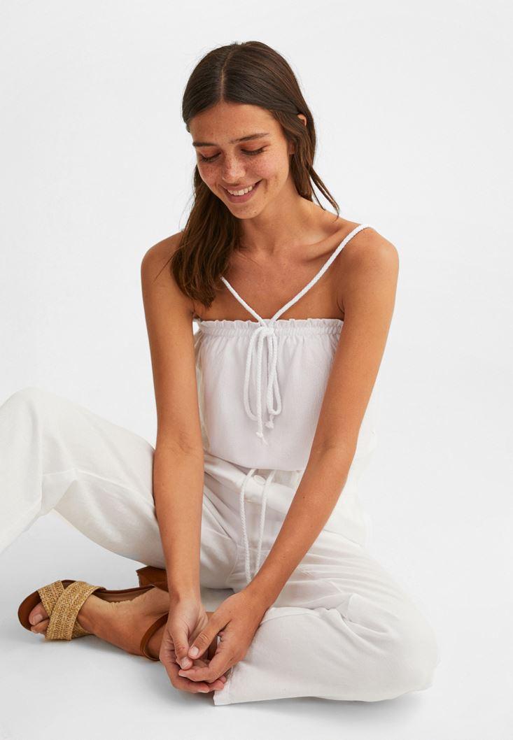 Beyaz Halat Askılı Crop Bluz