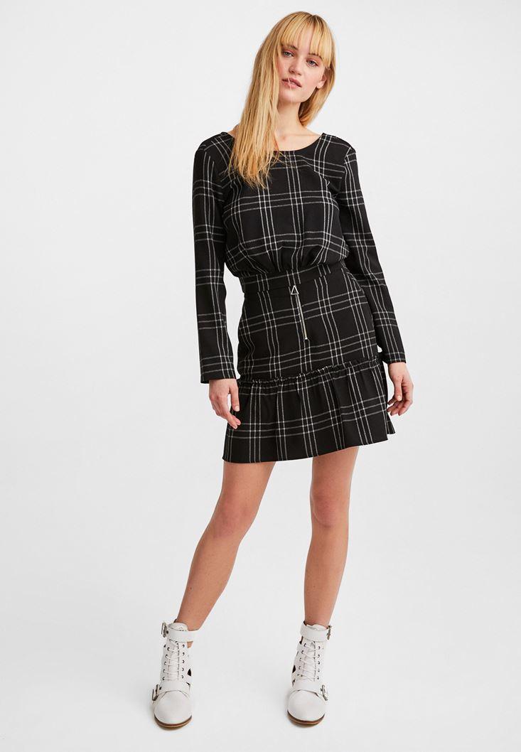 Black Zip Detailed Mini Skirt