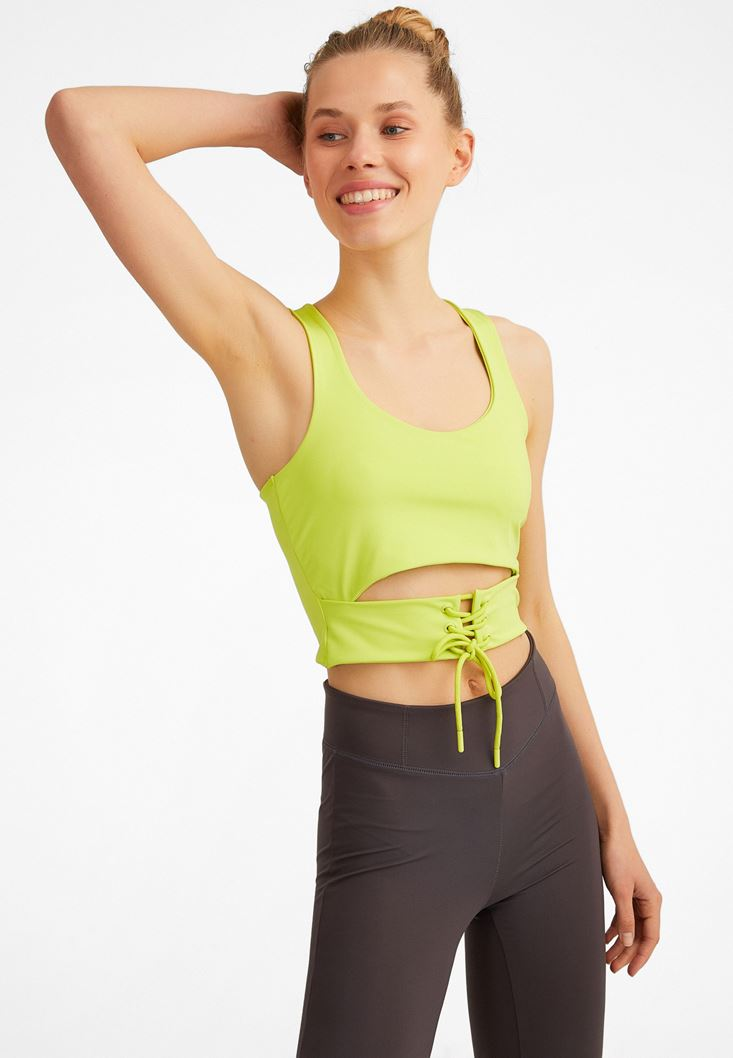 Green Tank Top with Lace-up