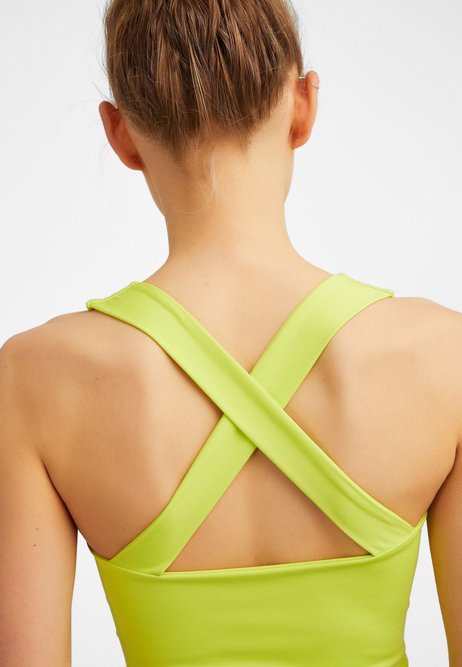 Bayan Yeşil Bağlama Detaylı Atlet
