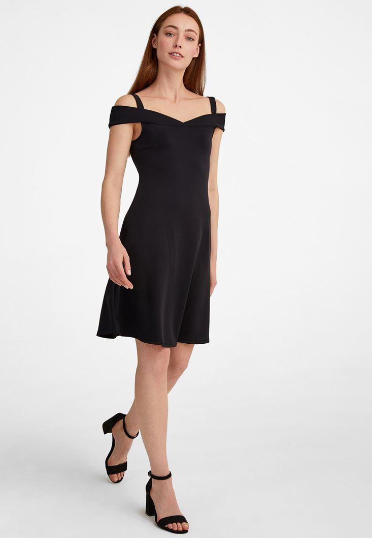 Siyah Omuz Detaylı Mini Elbise