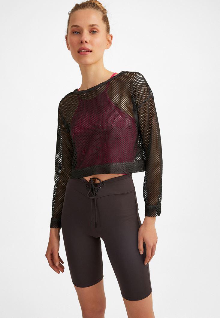 Anthracite Grey Long Sleeve Mesh T-Shirt