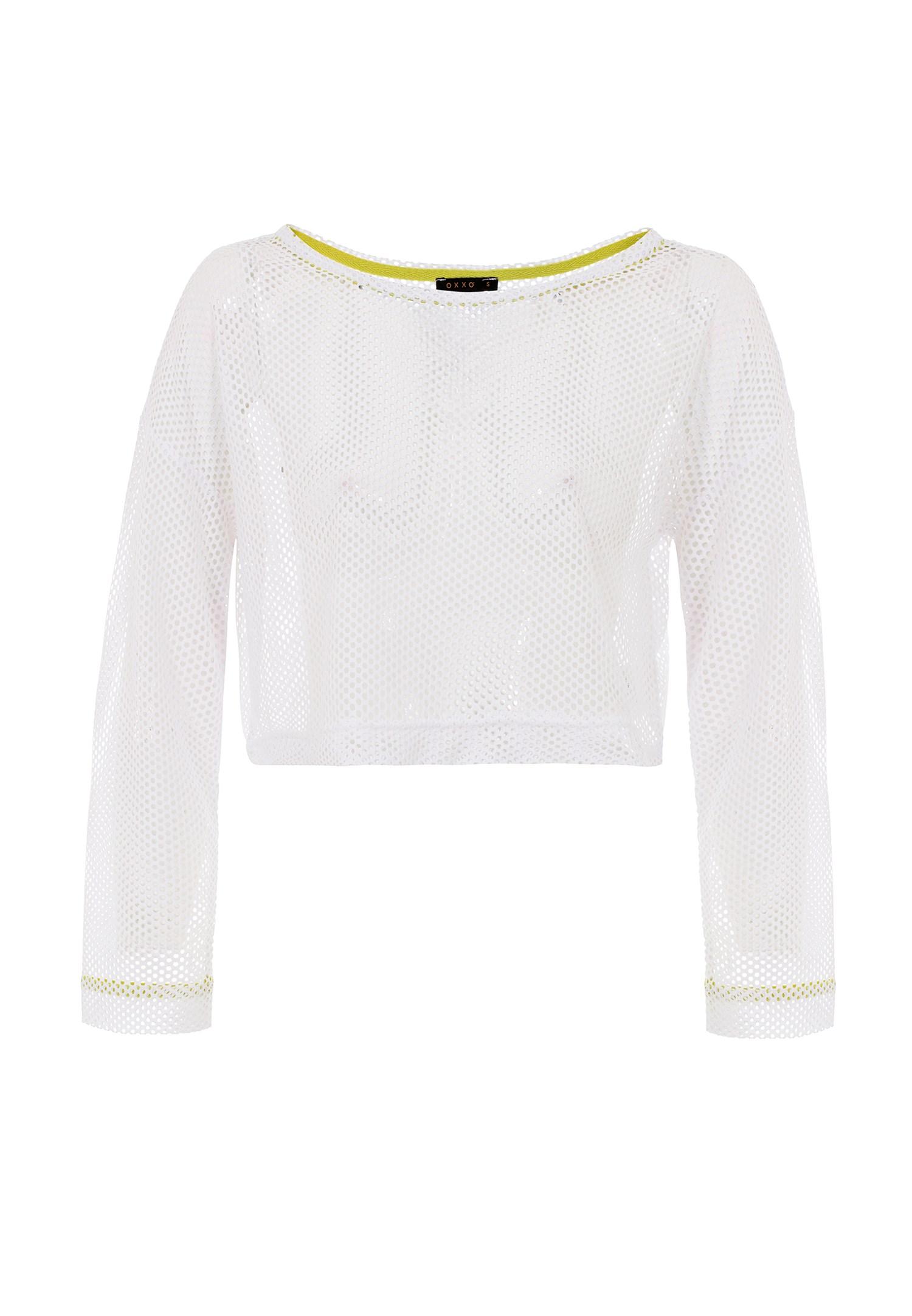 Bayan Beyaz Uzun Kollu File Tişört