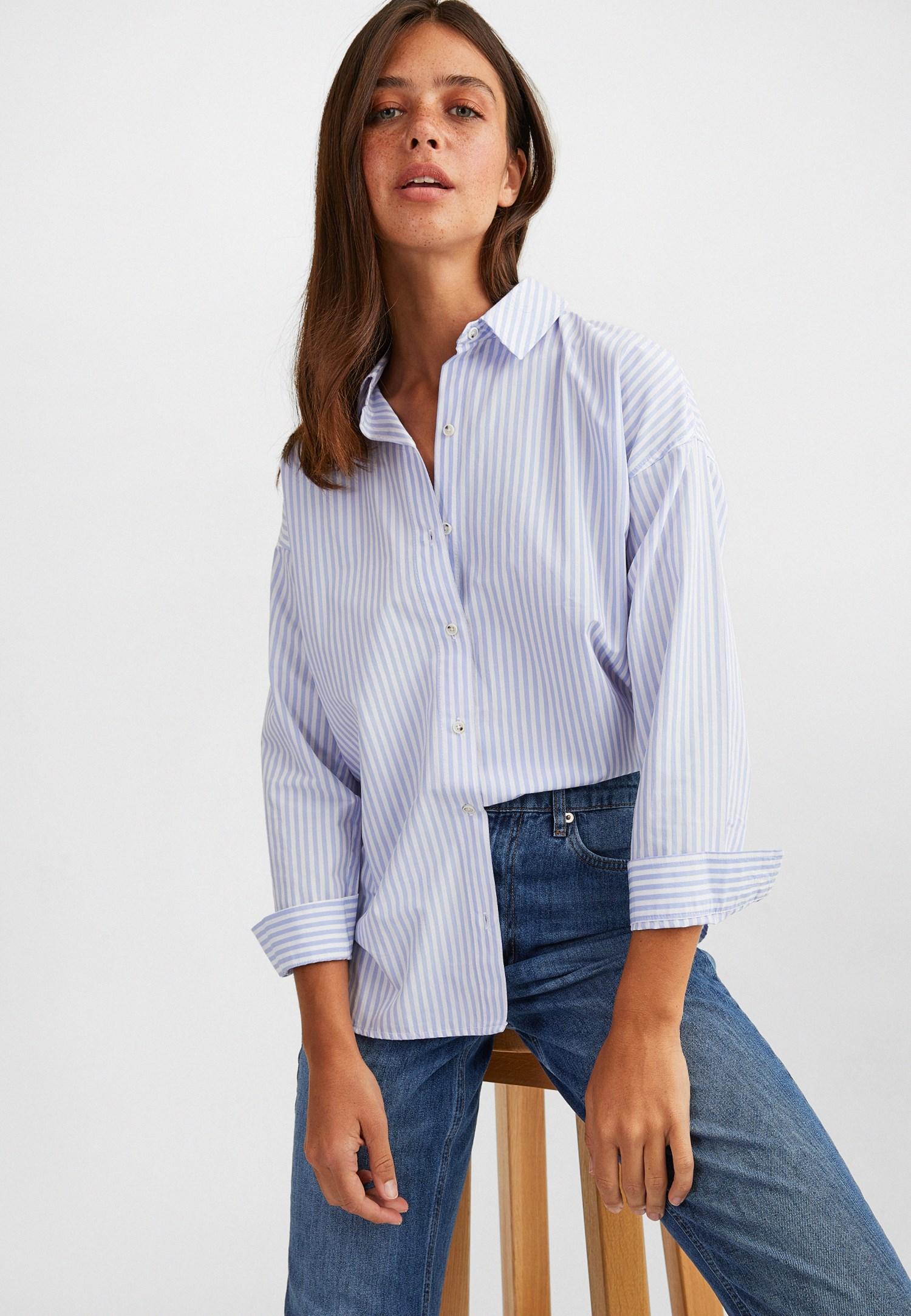 Bayan Çok Renkli Çizgili Uzun Gömlek