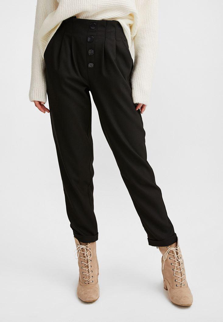 Siyah Yüksek Belli Düğme Detaylı Pantolon