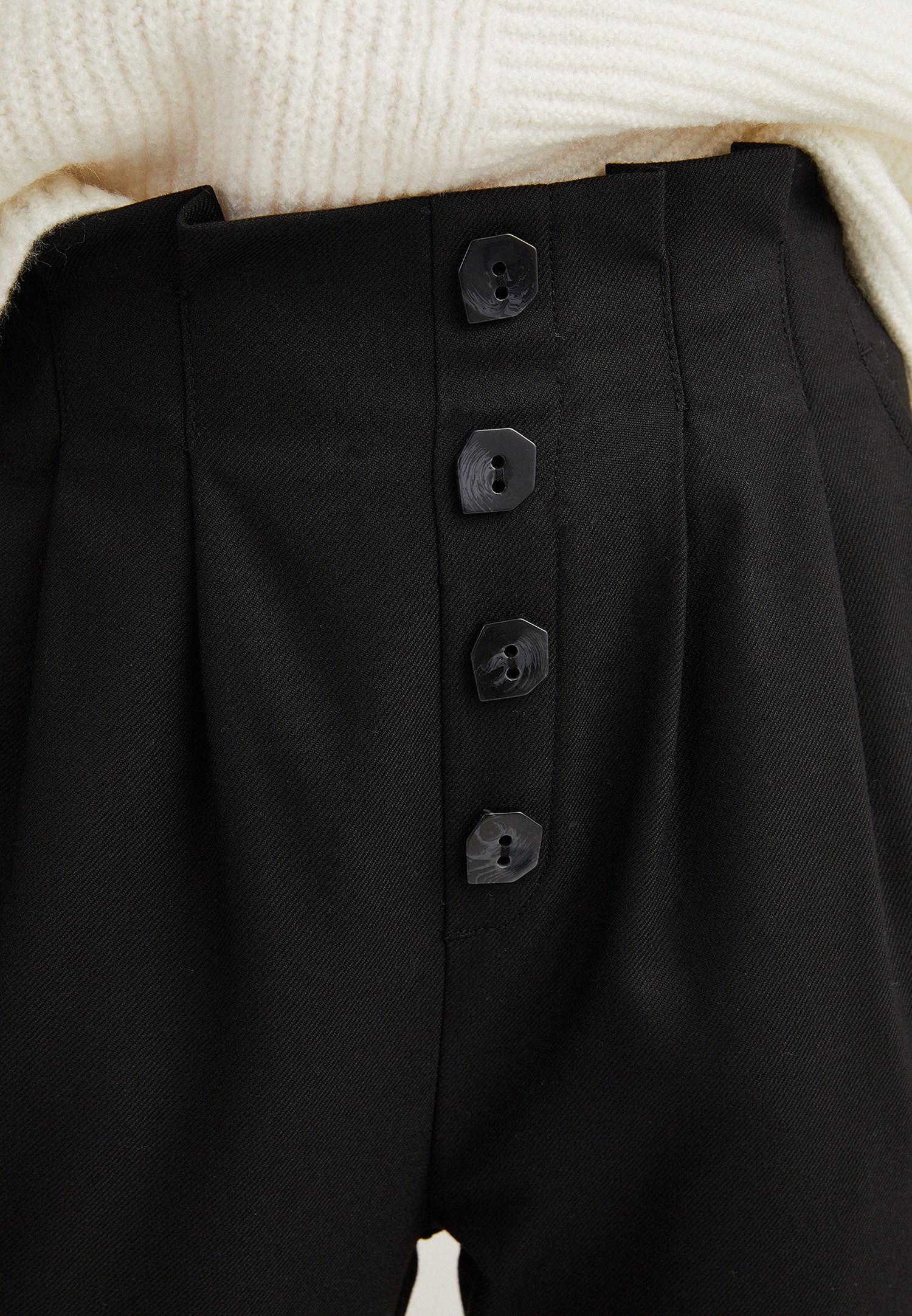 Bayan Siyah Yüksek Belli Düğme Detaylı Pantolon