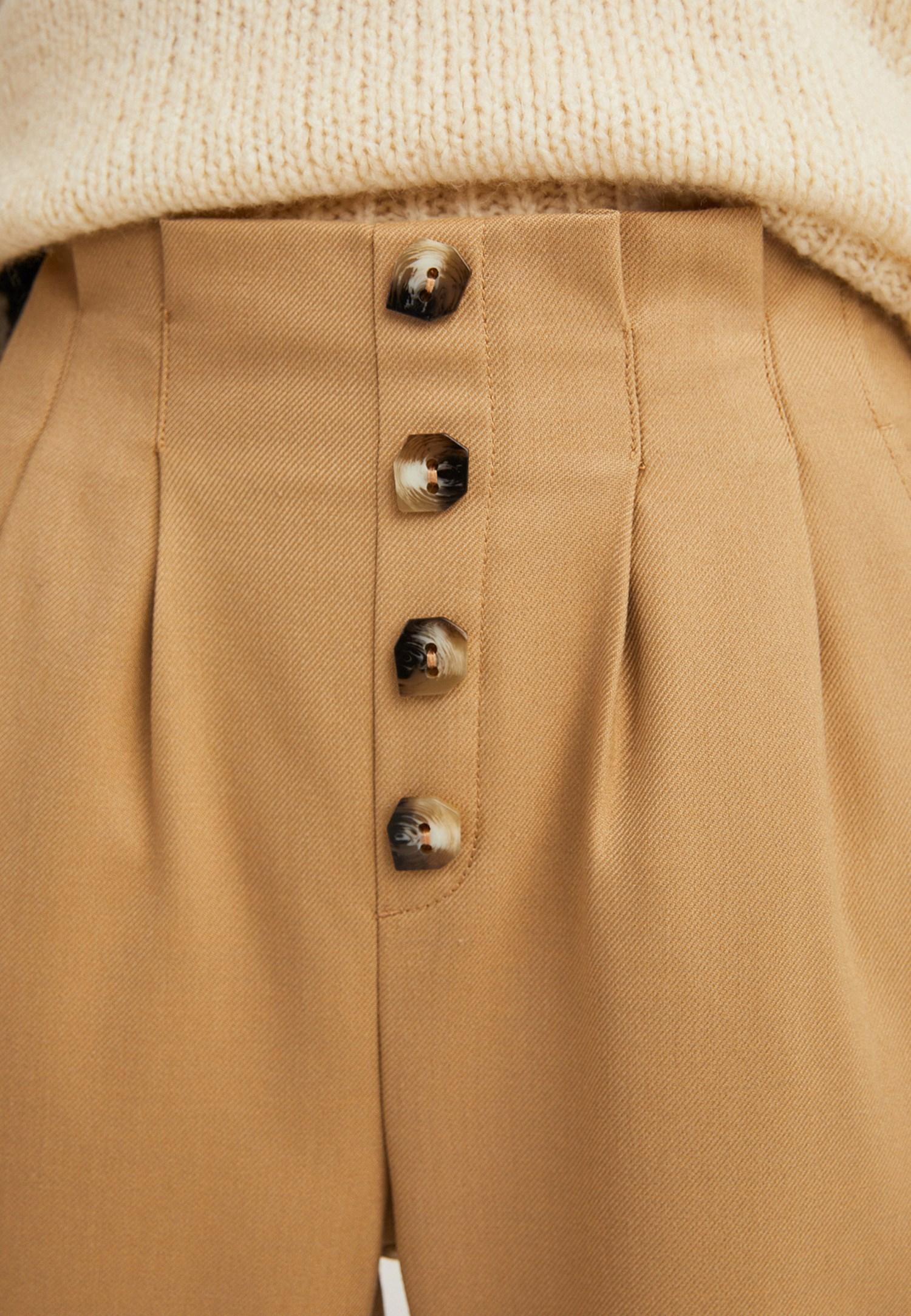 Bayan Kahverengi Yüksek Belli Düğme Detaylı Pantolon