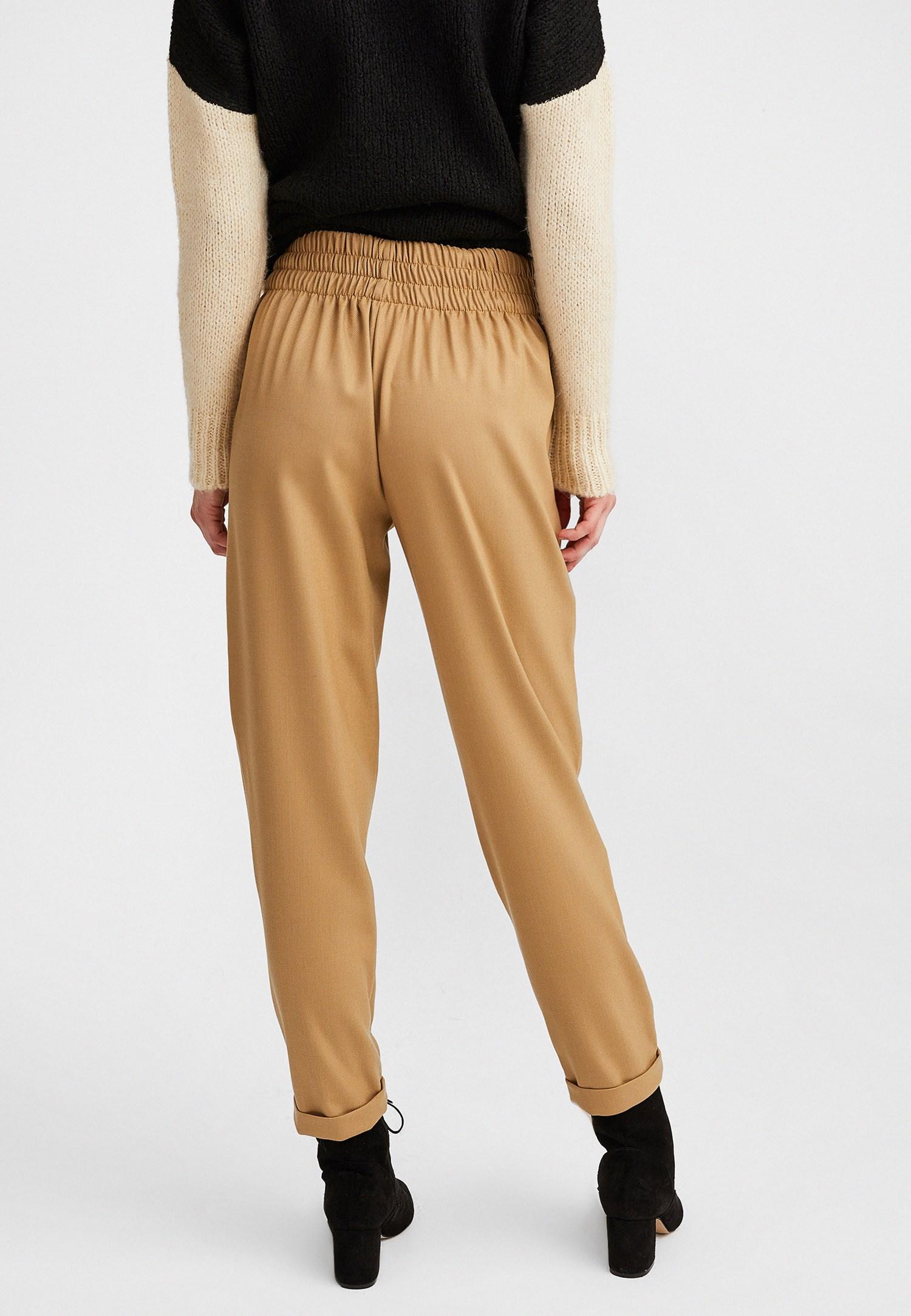 Bayan Kahverengi Yüksel Belli Düğme Detaylı Pantolon