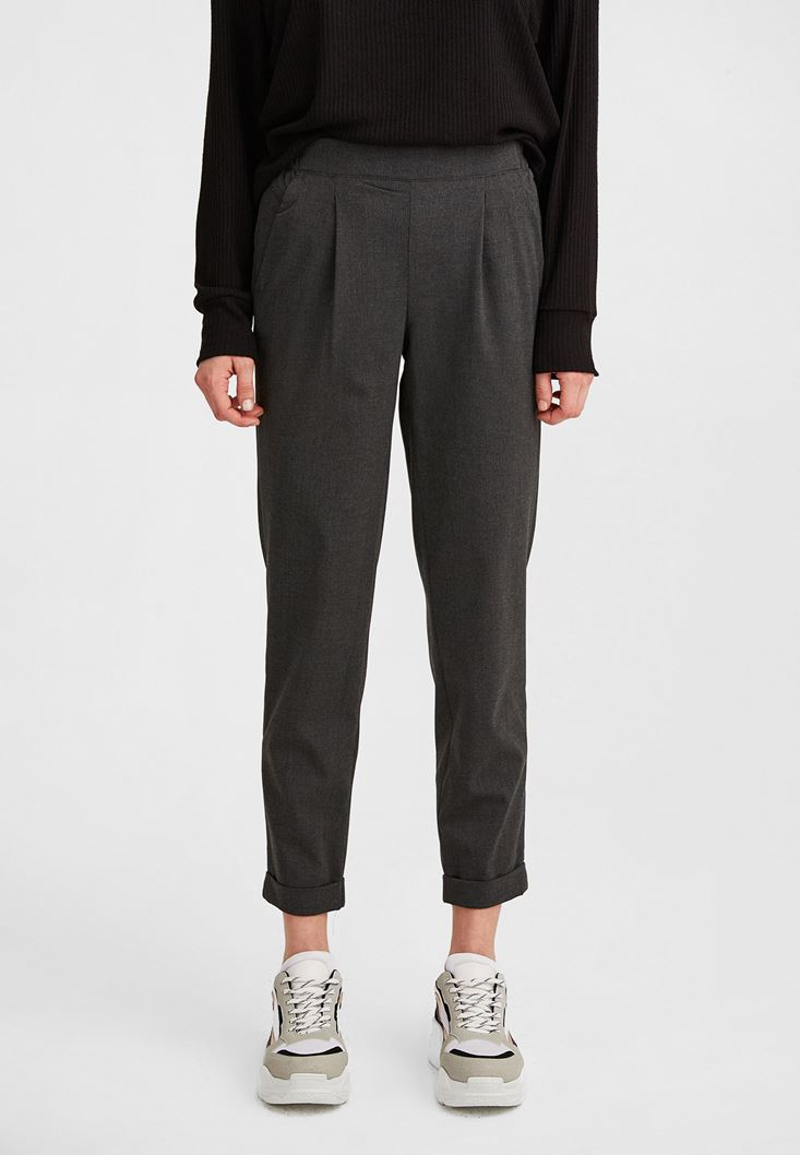 Grey Carrot Trouser with Elastic Belt