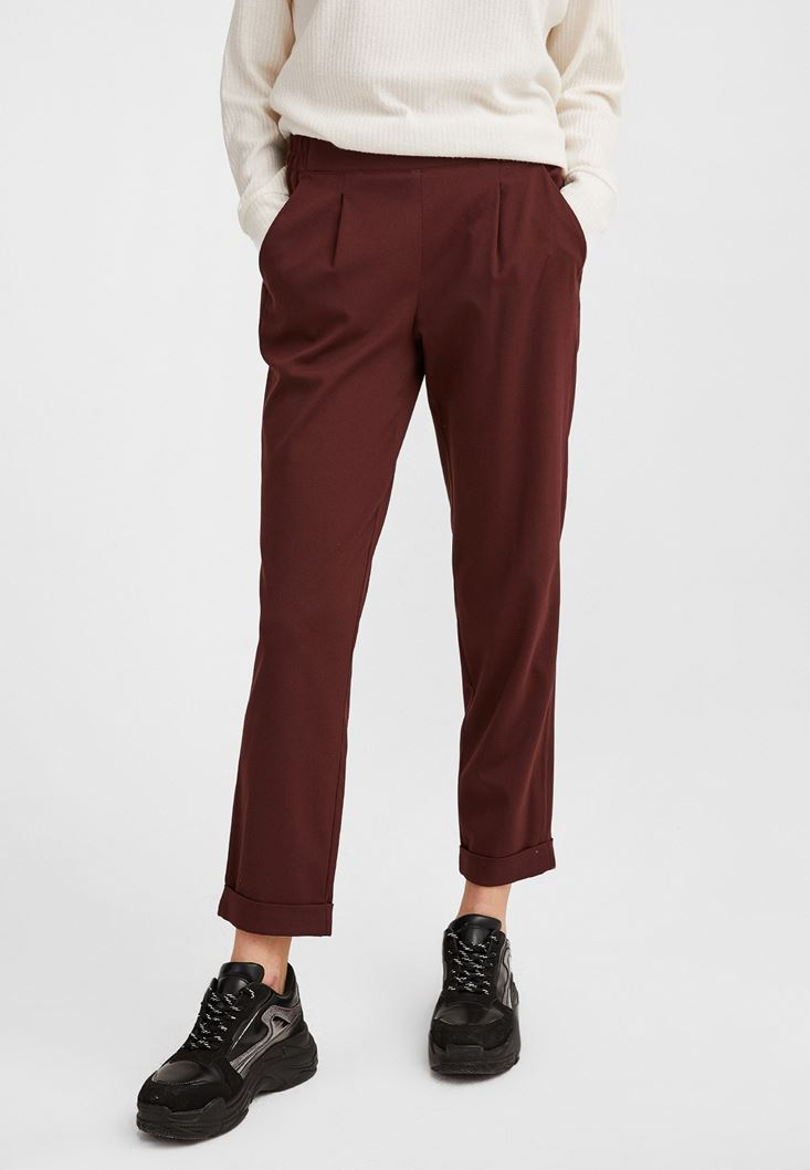 Bordeaux Carrot Trouser with Elastic Belt