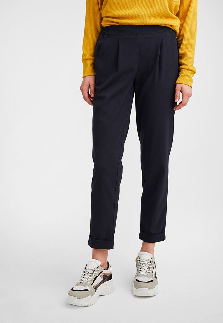Navy Carrot Trouser with Elastic Belt