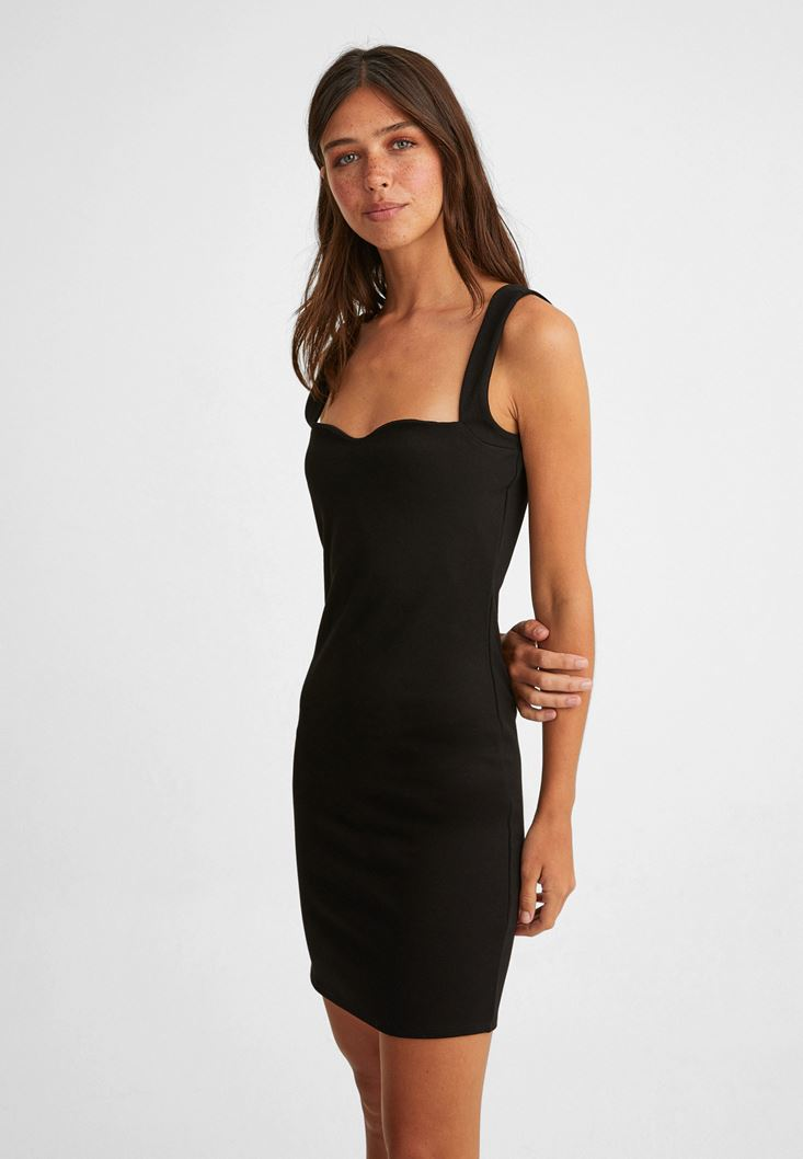Black Mini Dress with Heart-Neck