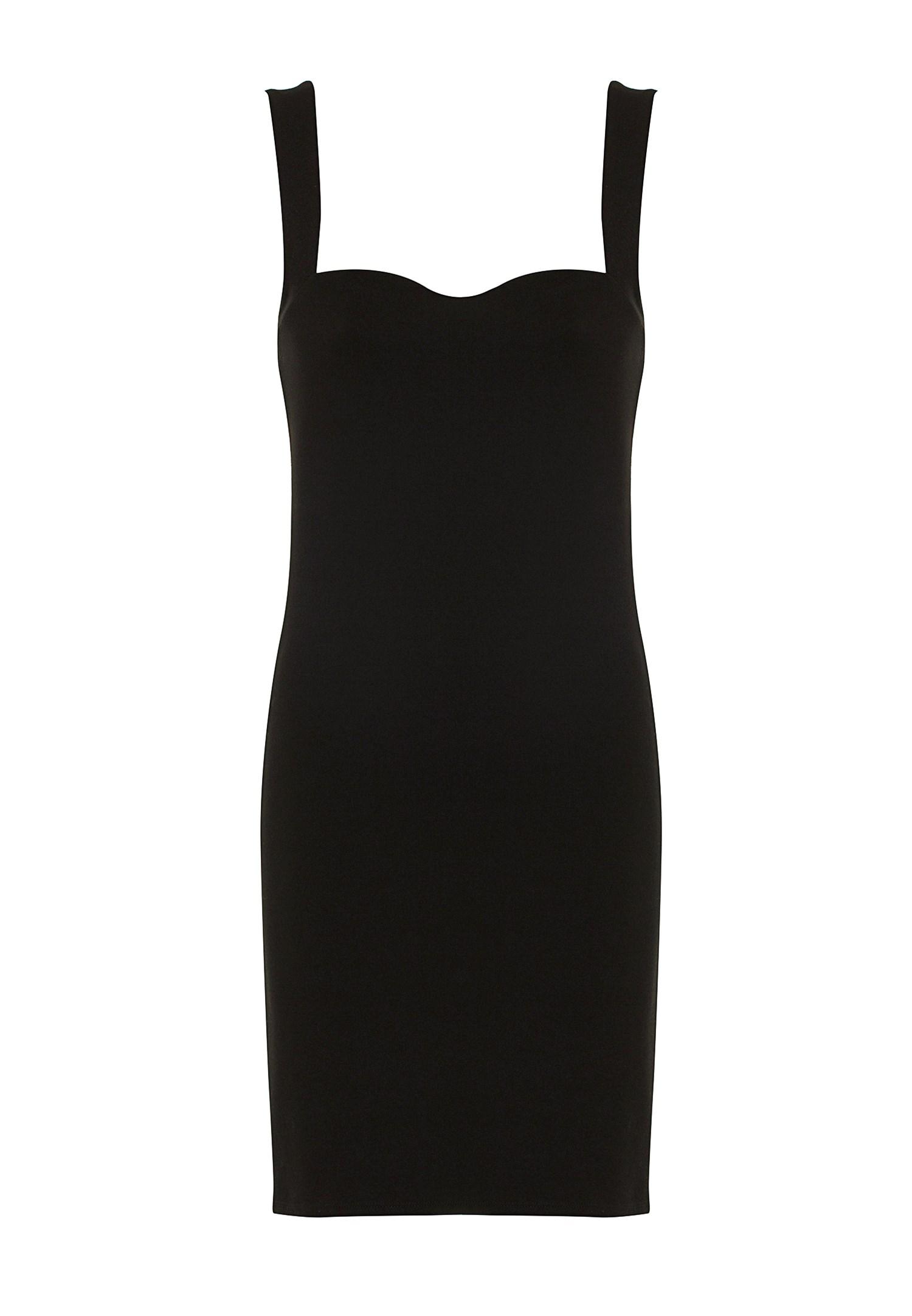 Bayan Siyah Kalp Yaka Mini Elbise