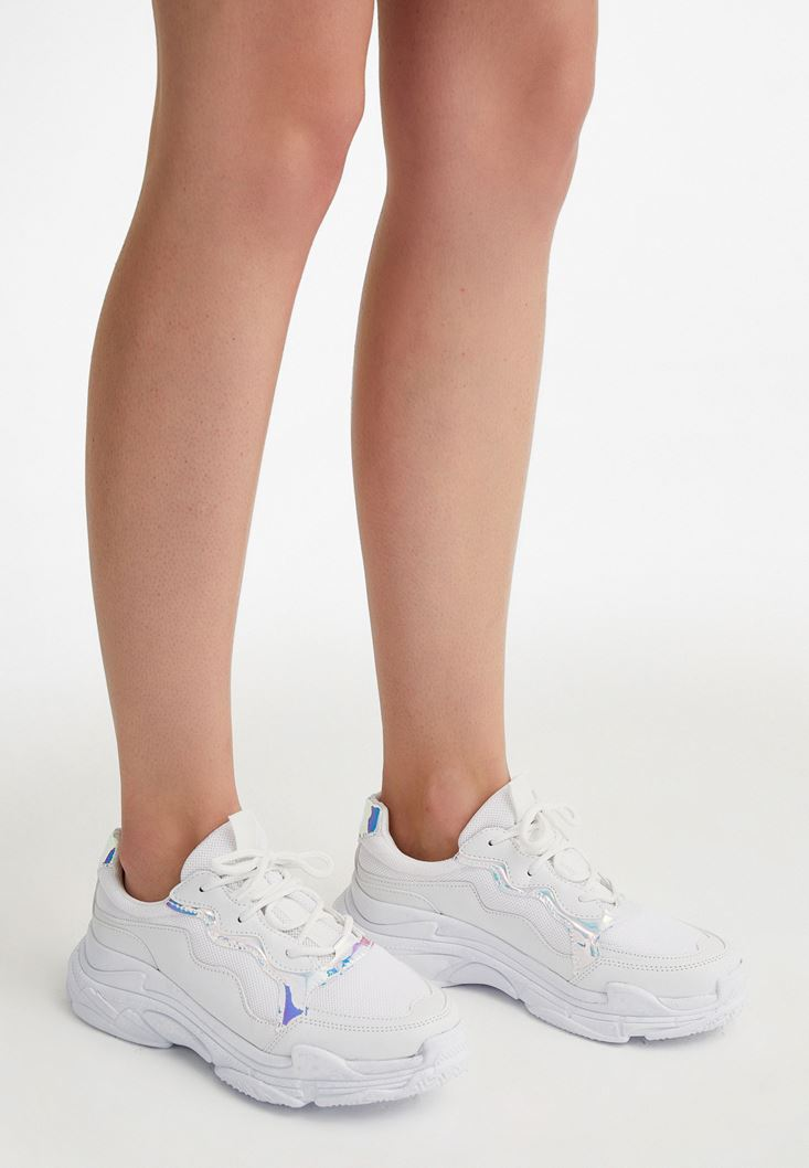 White Sneakers with Iridescant Details