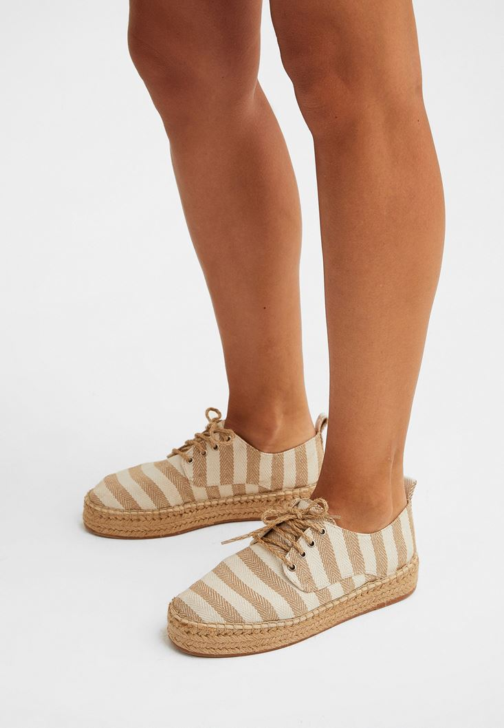 Cream Lace-up Espadrils