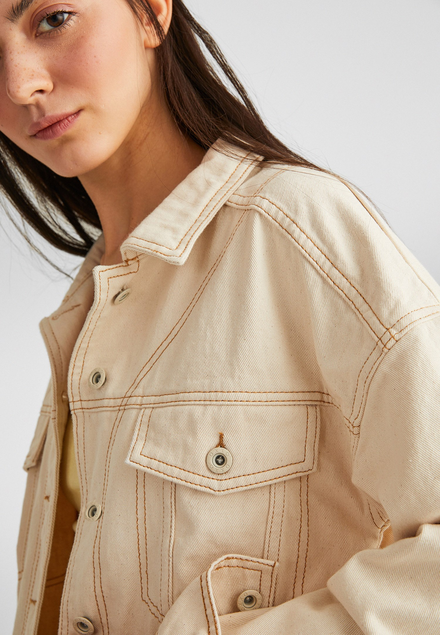 Bayan Krem Boyfriend Denim Ceket