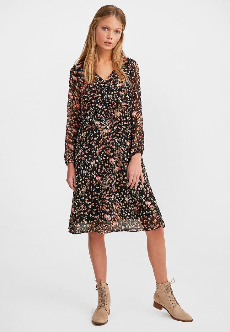 Mixed Patterned Long Sleeve Midi Dress