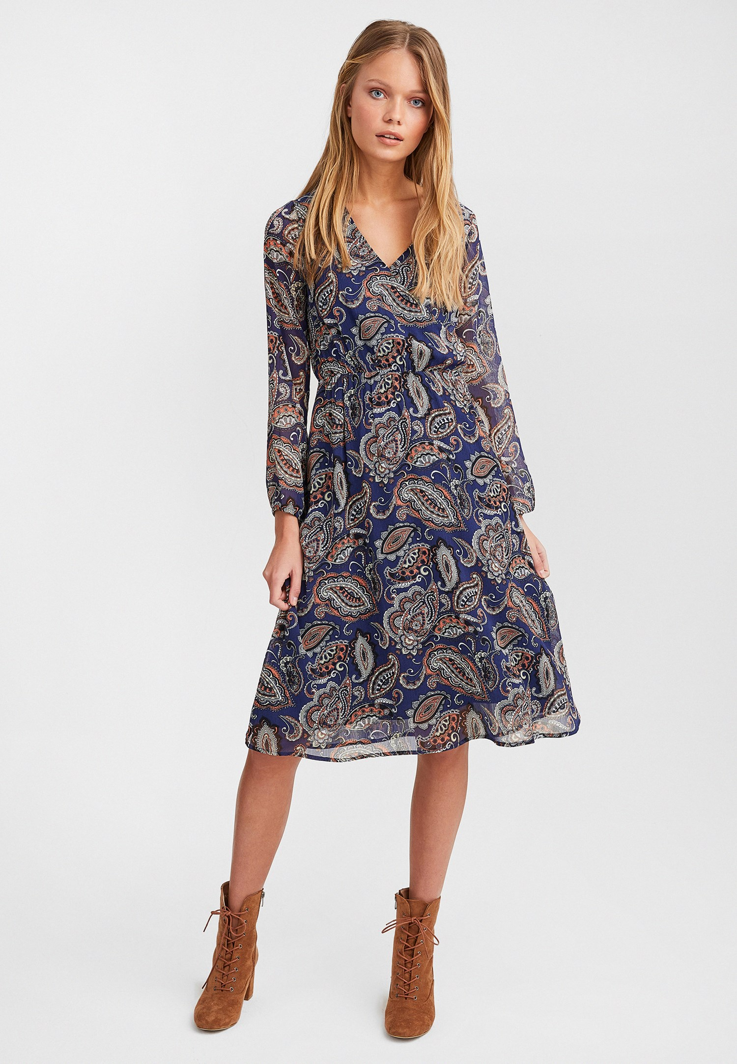 03a5a8a2fa88 Mixed Patterned Long Sleeve Midi Dress Online Shopping