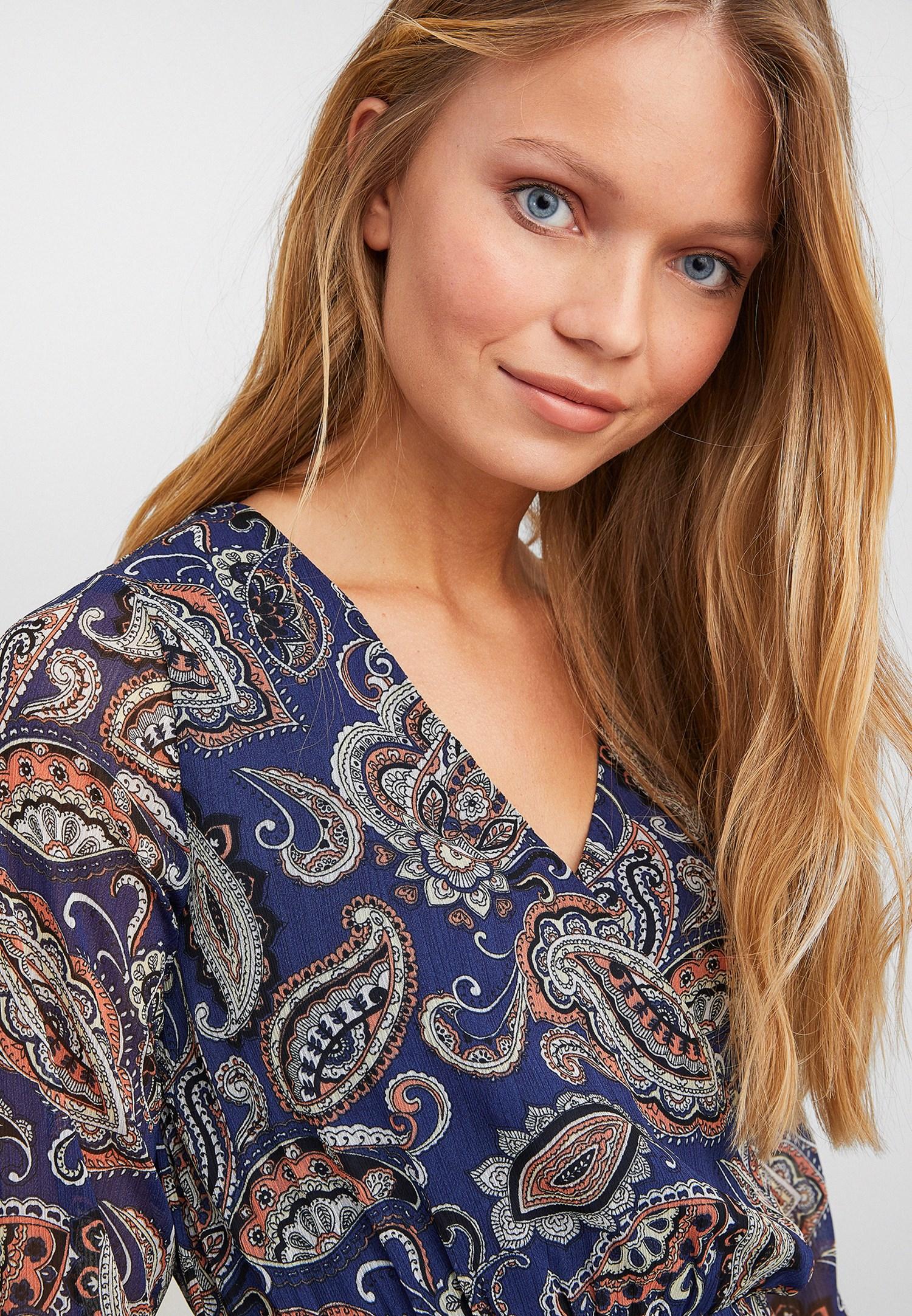 Bayan Çok Renkli Desenli Uzun Kollu Midi Elbise