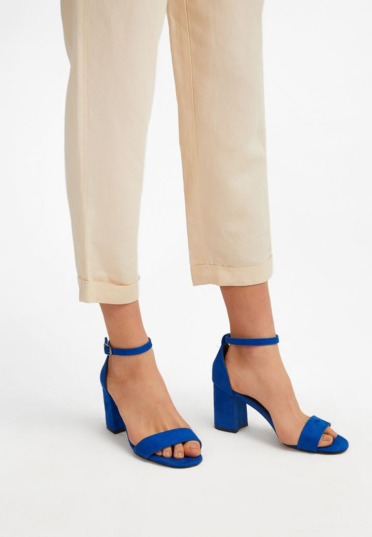 Blue Mid-Heel Sandals