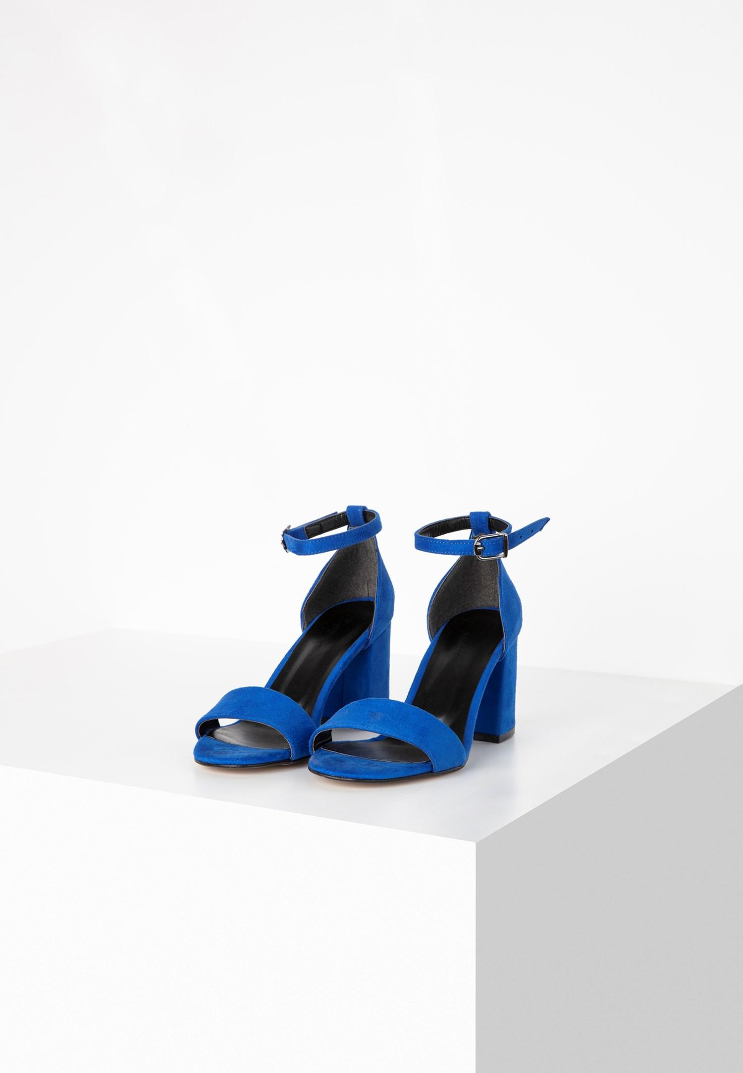 Bayan Mavi Tek Bantlı Topuklu Ayakkabı