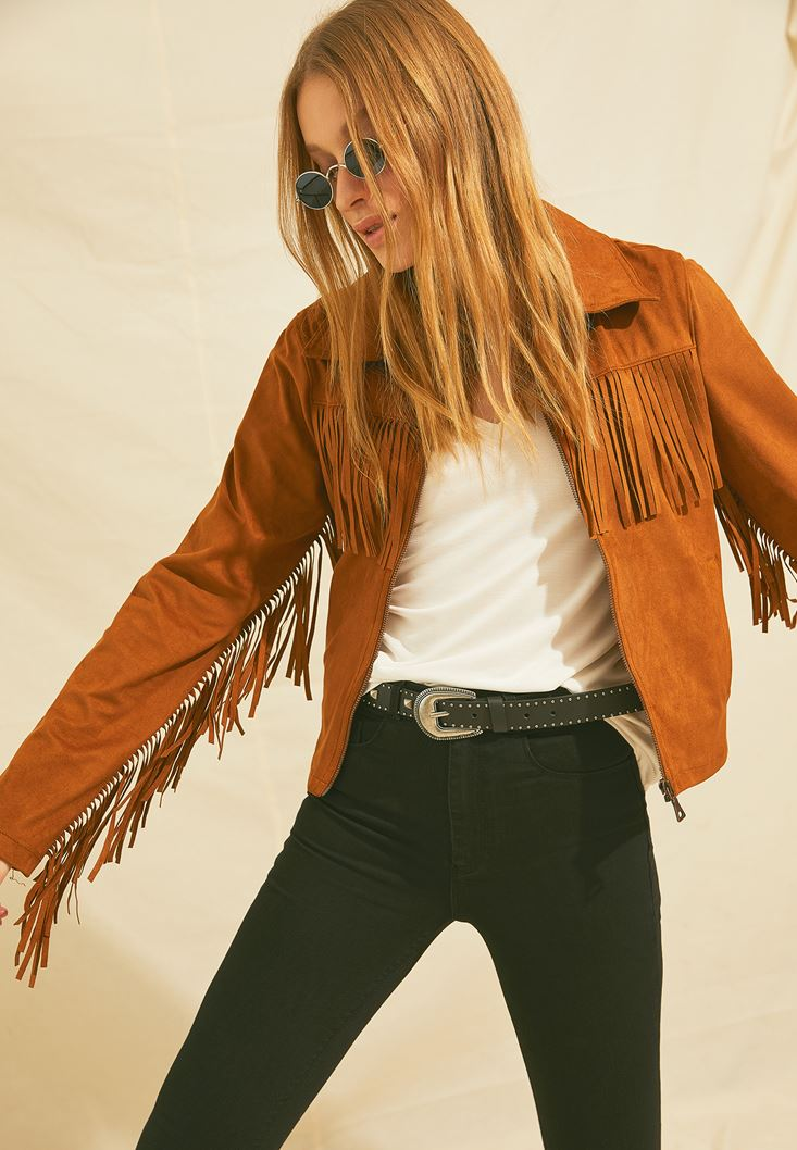 Brown Fringed Suede Jacket