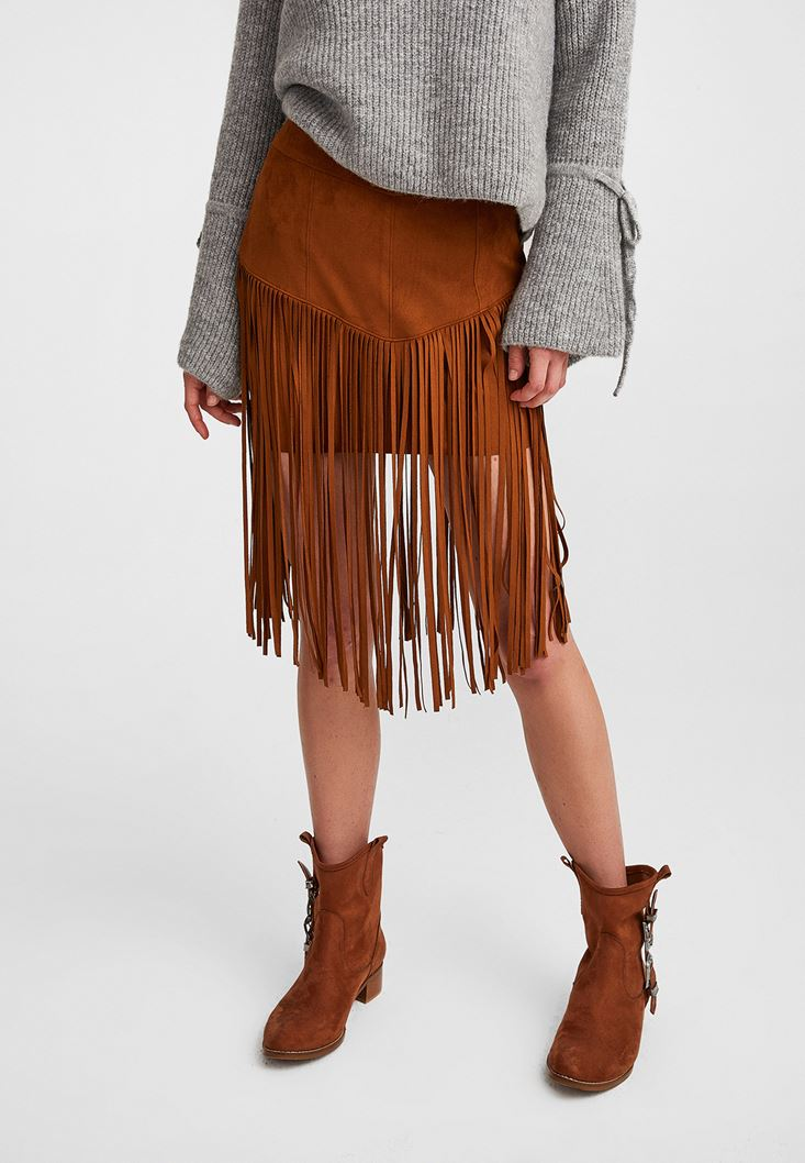 Brown Fringed Suede Skirt