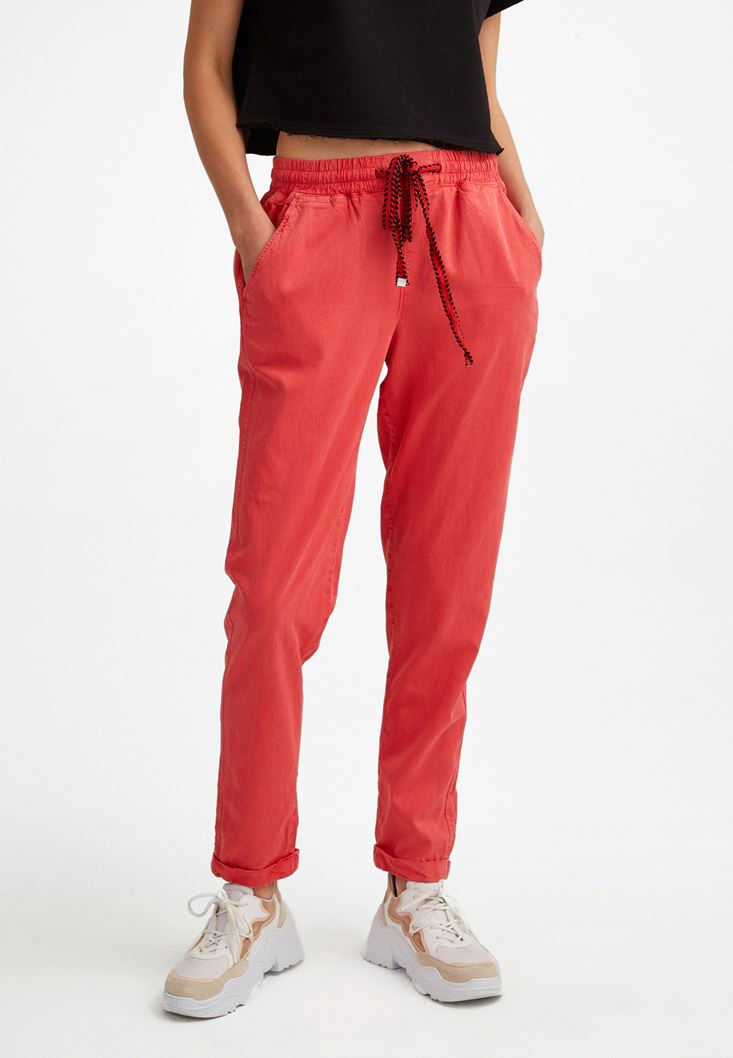 Orange Elastic Waisted Trousers