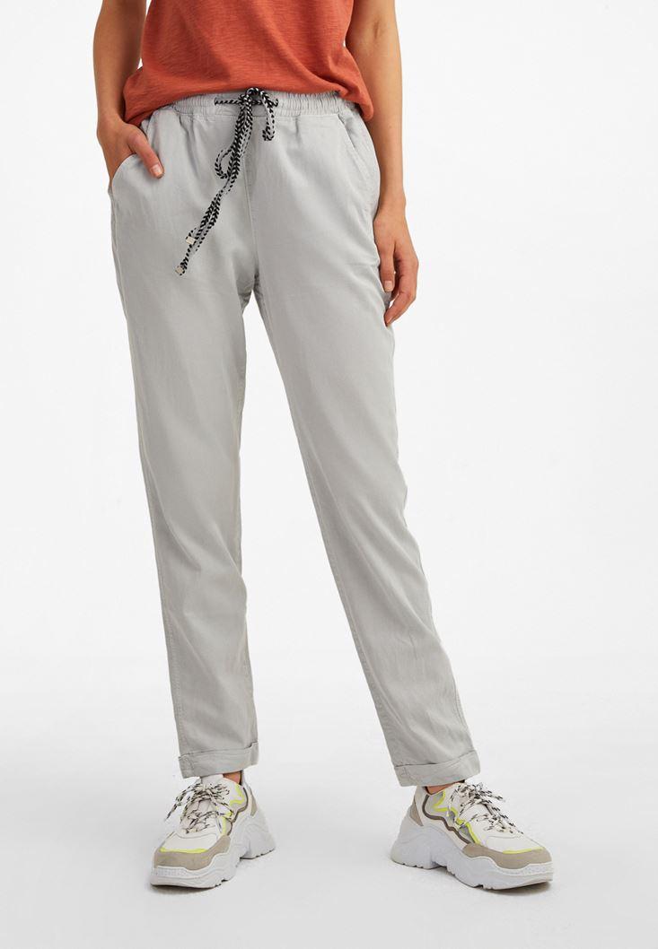 Gri Beli Lastikli Havuç Kesim Pantolon