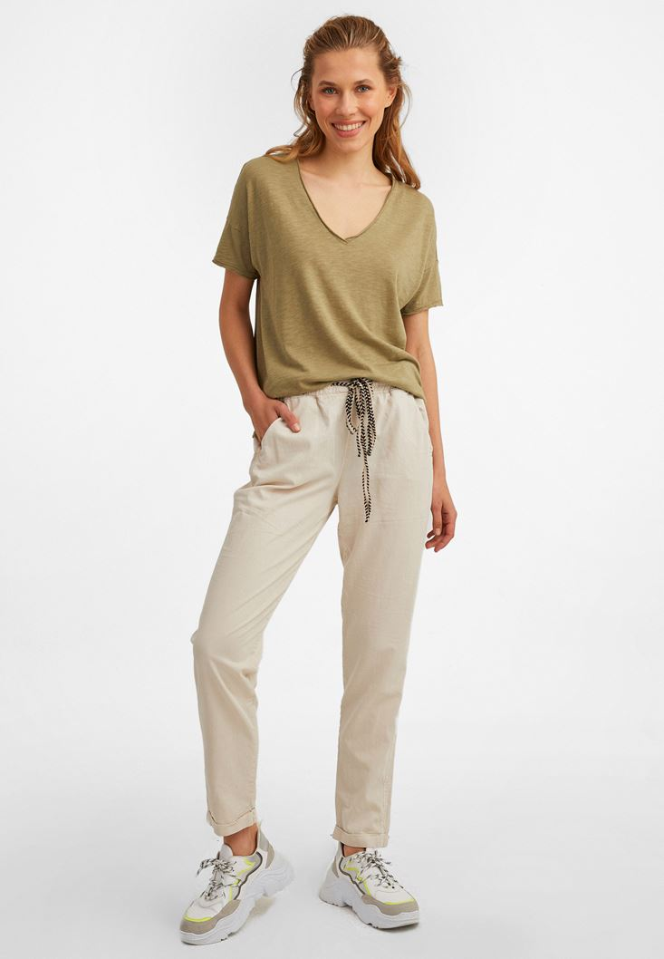 Cream Elastic Waisted Trousers