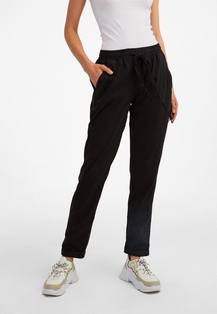 Siyah Beli Lastikli Havuç Kesim Pantolon