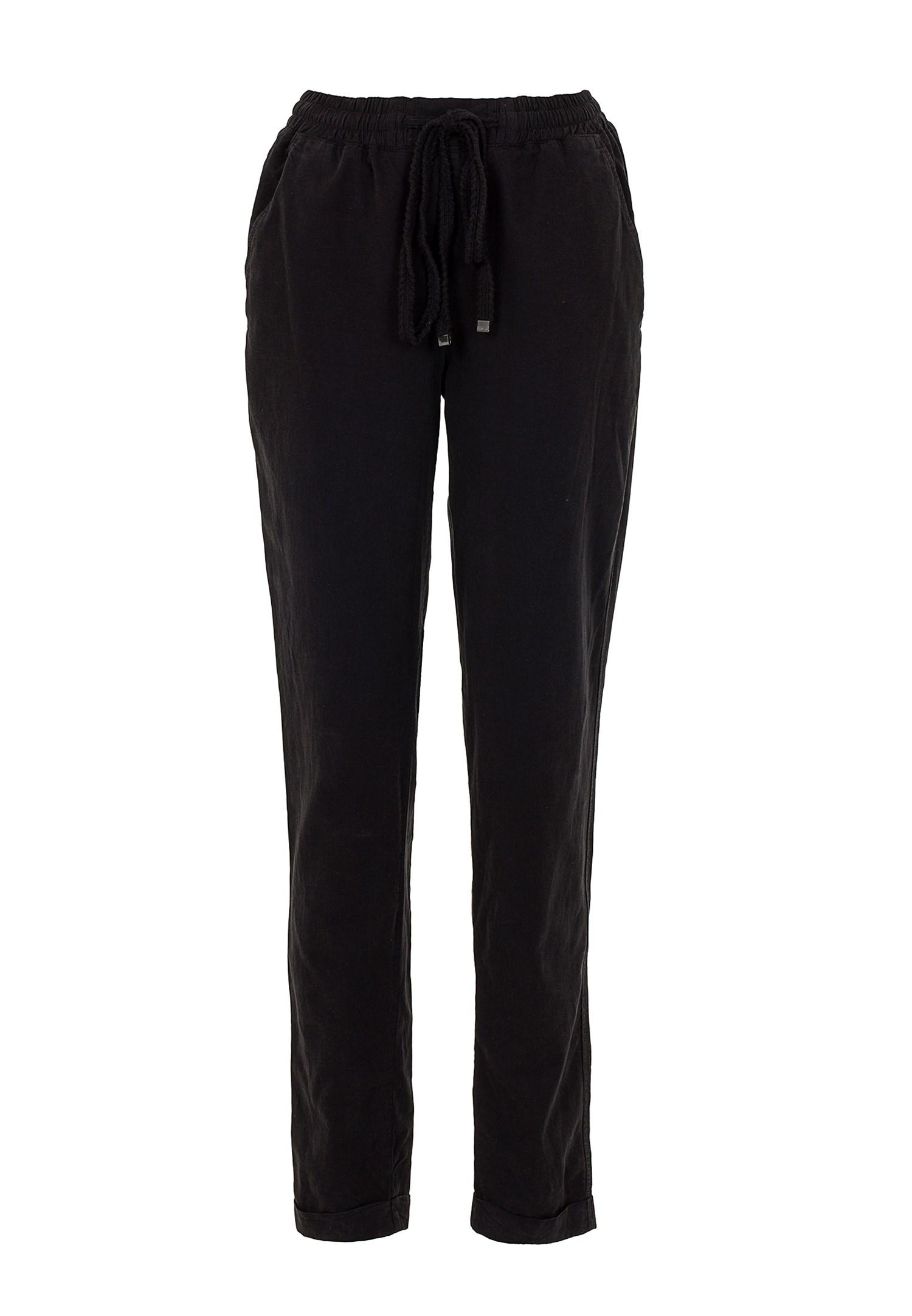 Bayan Siyah Beli Lastikli Havuç Kesim Pantolon