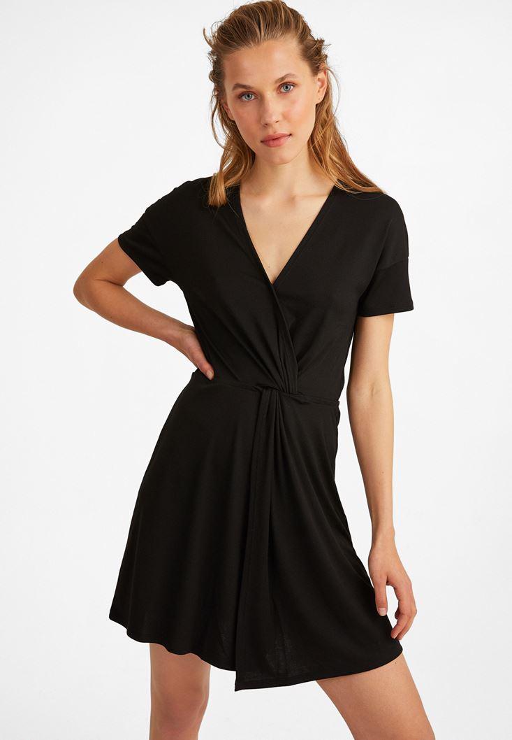 Siyah Yumuşak Dokulu Midi Elbise