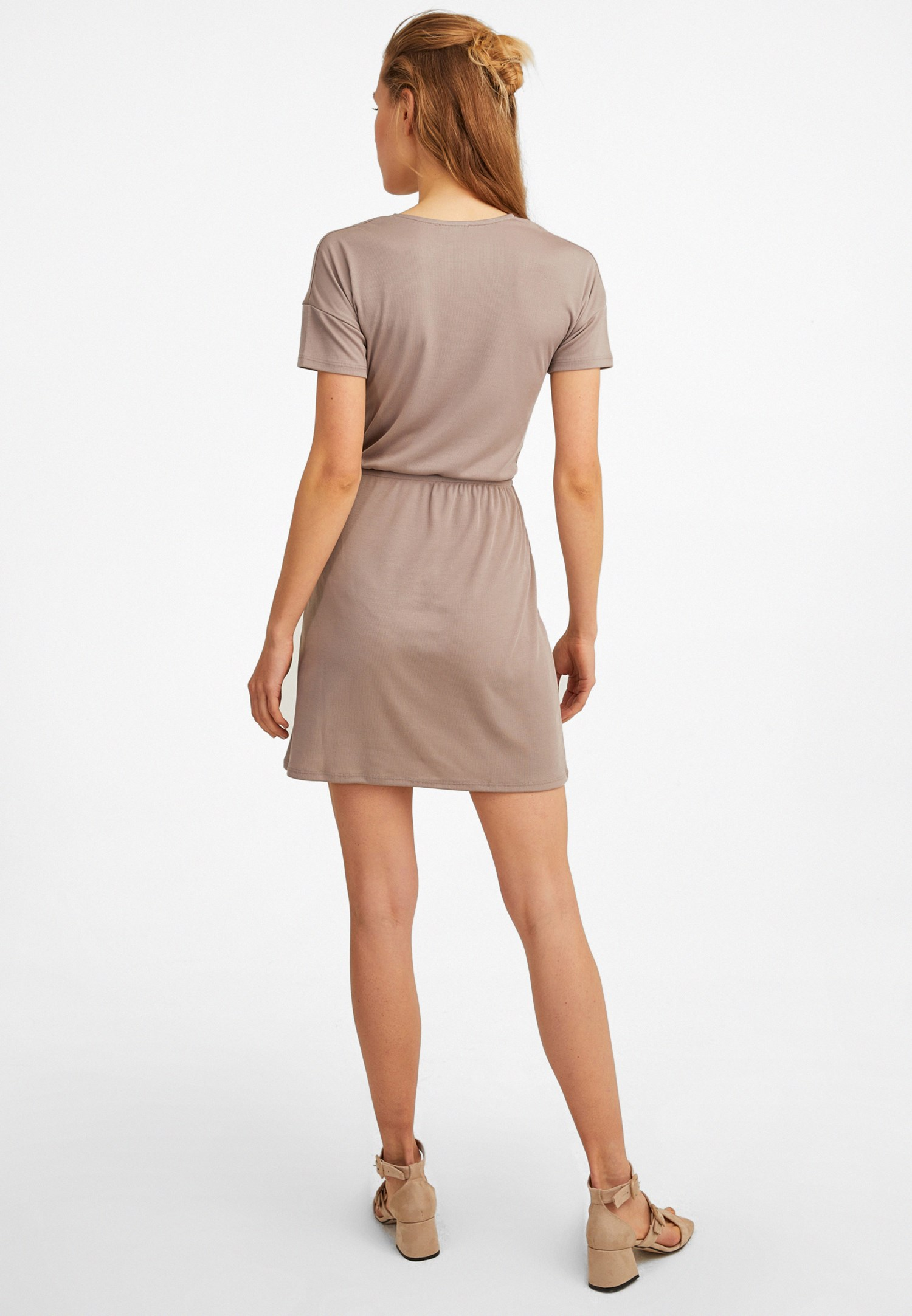 Bayan Kahverengi Yumuşak Dokulu Midi Elbise