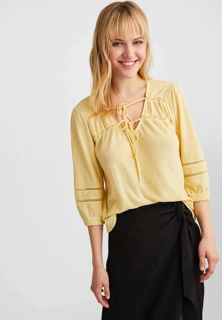 Yellow Lace and Bow Detailed Blouse