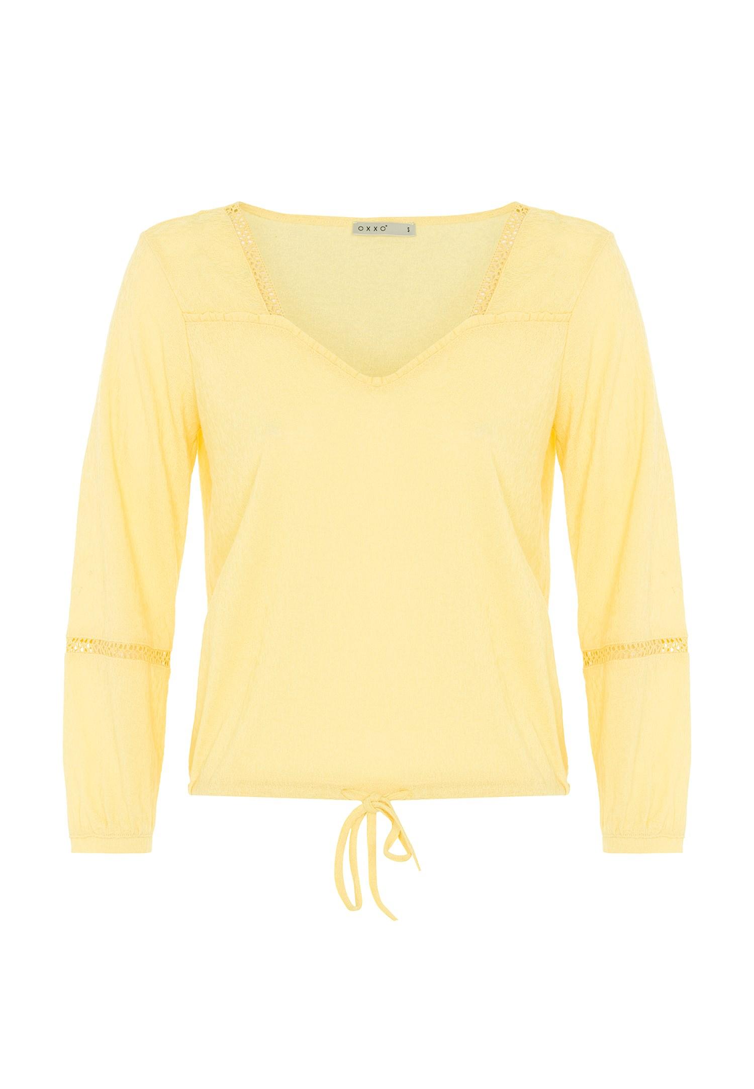Bayan Sarı Dantel Detaylı Uzun Kollu Bluz