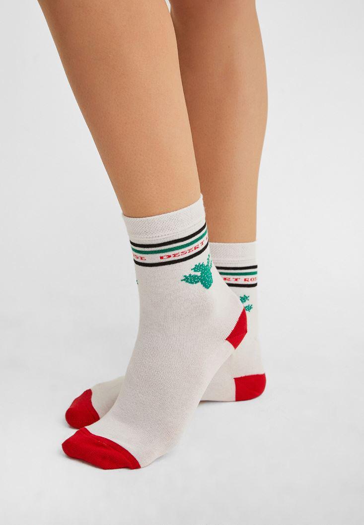 Çok Renkli Kaktüs Desenli Çorap