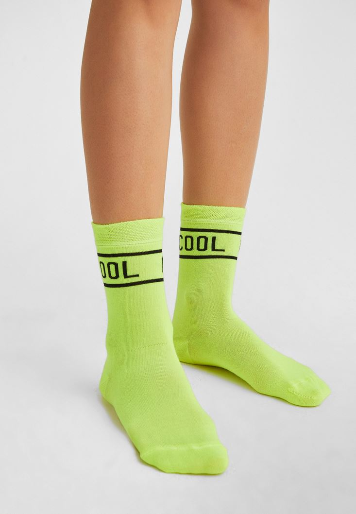 Yellow Neon Socks with Slogan