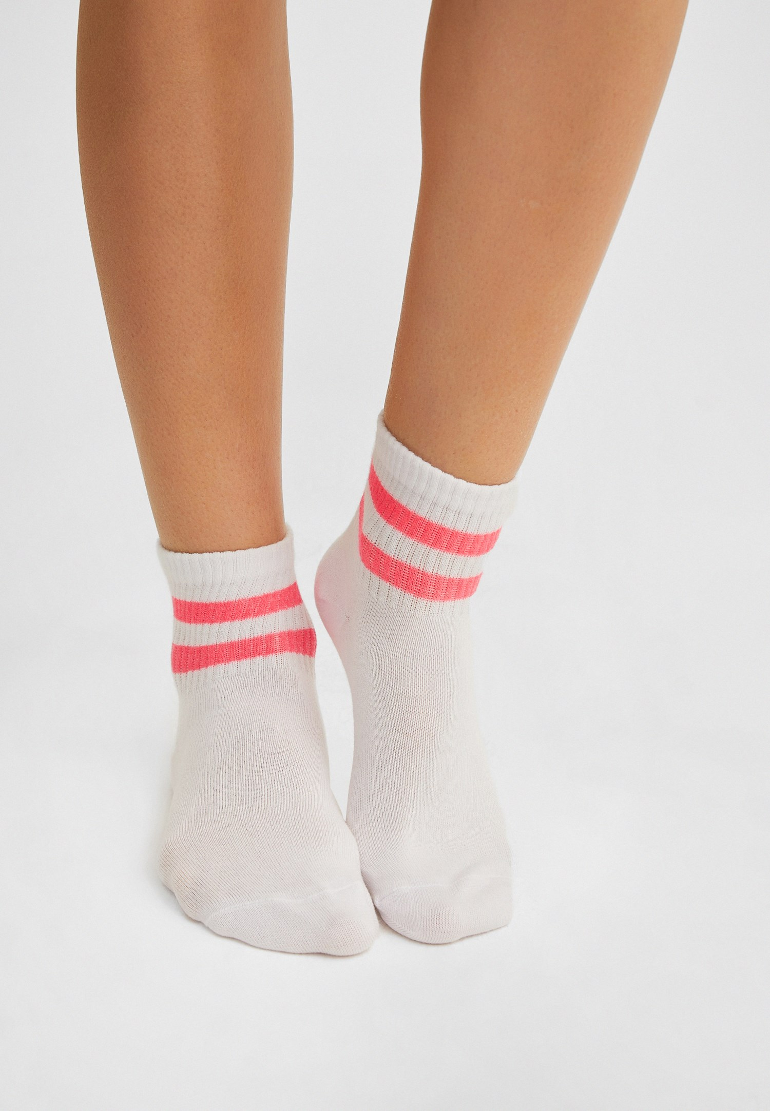 Bayan Pembe Çizgili Çorap