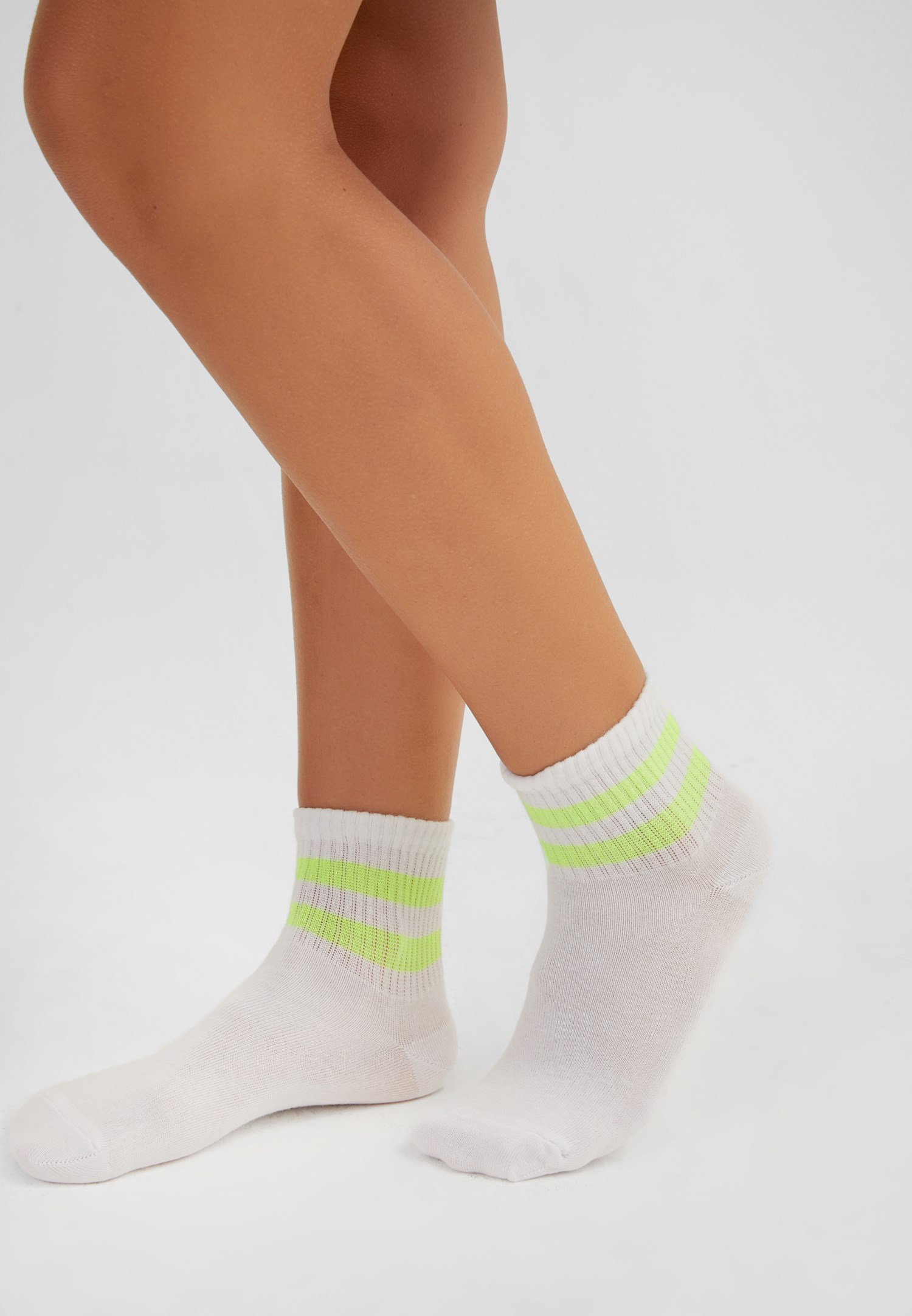 Bayan Sarı Çizgili Çorap