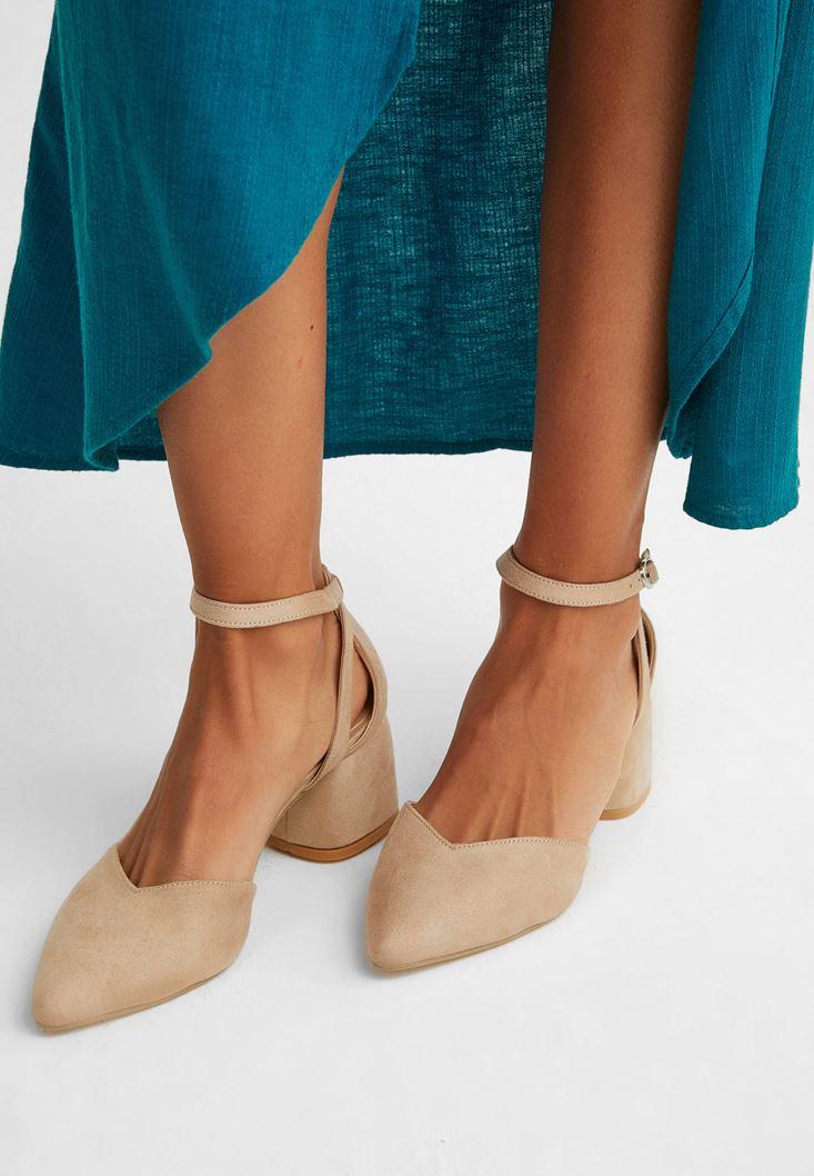 Cream Mid-Heel Sandals