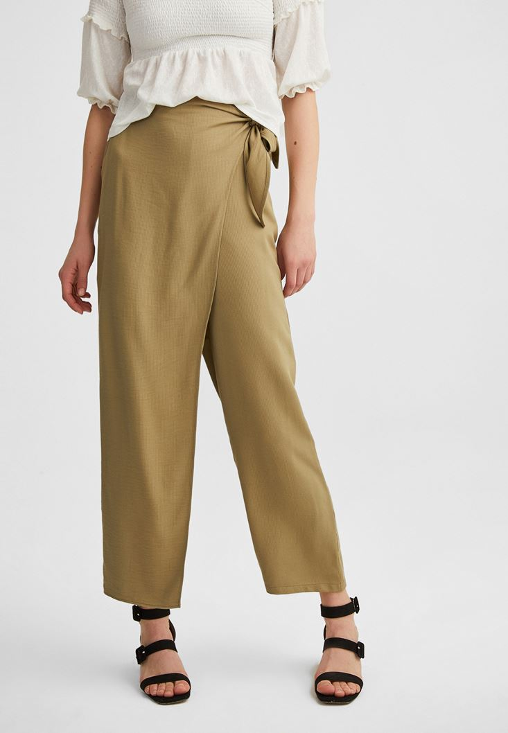 Green Wide Trousers with Bow
