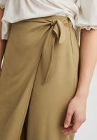 Women Green Wide Trousers with Bow