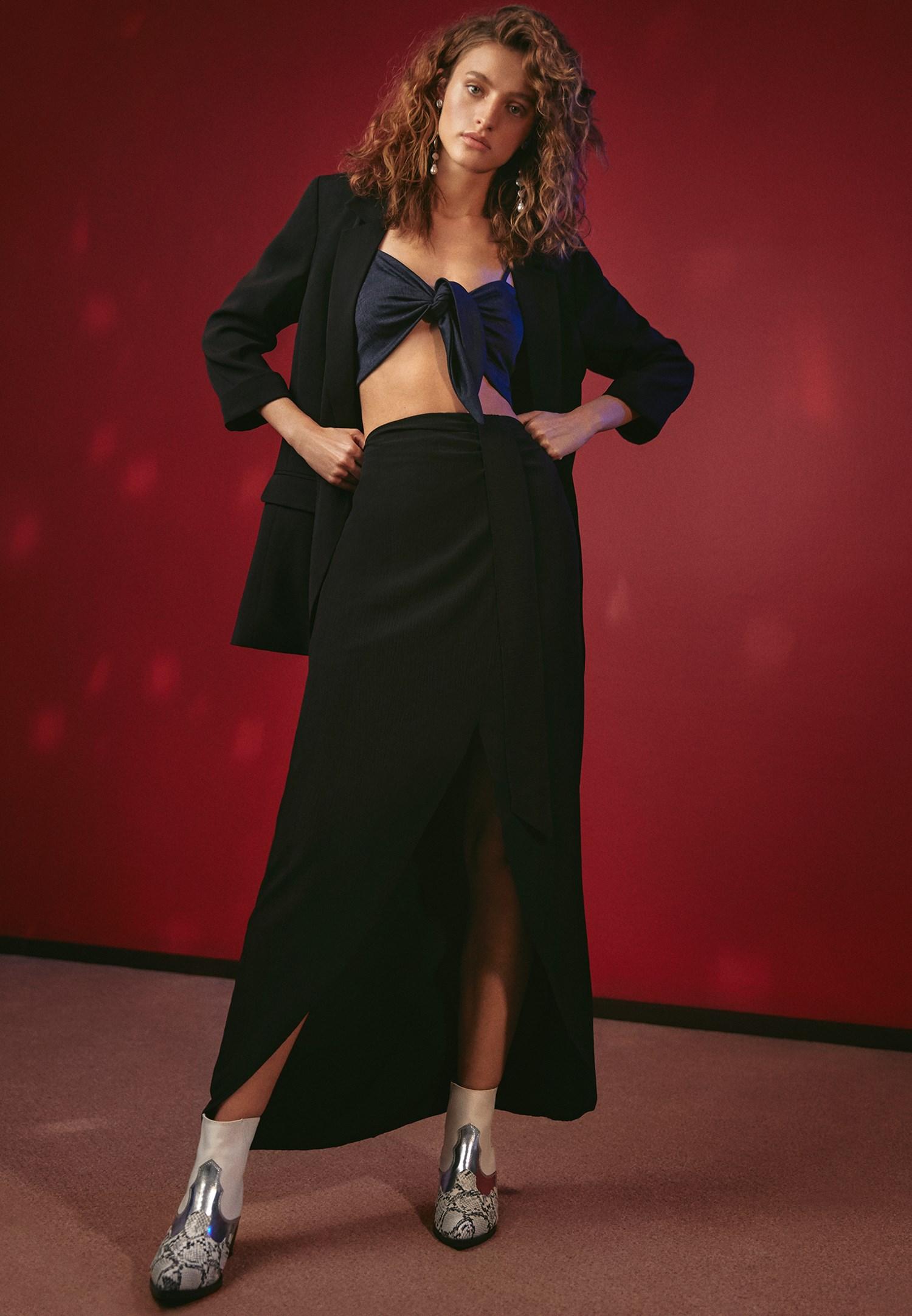 Bayan Siyah Bağlama Detaylı Uzun Etek